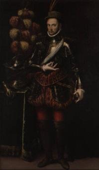 portrait en pied d'un gentilhomme en armure by enea salmeggia talpino