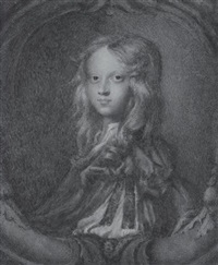 master farrington, with long blond hair, wearing brown doublet, the sleeve ruched up to reveal white by sophia, the hon. townshend