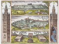 la giralda de sevilla, s. juan de aznalfarache y llerena by franz hogenberg