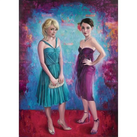 chelsey green, double self portrait - turquoise/magenta by delia brown