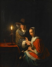 a candlelit interior with a couple and their dogs by frans van mieris