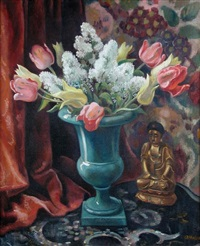 still life with white lilac, pink and golden tulips in a blue vase with a golden buddha by adrian paul allinson