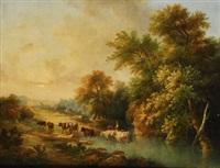vaquero atravesando un río by luis rigalt
