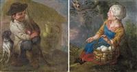 jeune berger avec son chien (+ filette au panier d'oeufs regardant un oiseau, lrgr.; 2 works) by jan anton garemyn