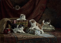 five playful kittens by cornelis raaphorst