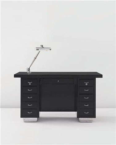 desk with articulated lamp by émile jacques ruhlmann