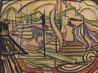 zeegezicht met boten by jacoba van heemskerck