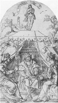 a king seated on a throne flanked by the figures of compassion and truth, clemency above by jan swart van groningen