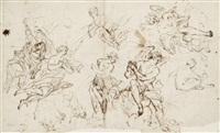 anges (study)(+ scène de sacrifice antique, verso) by giovanni battista spinelli