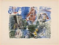 les voiliers, fete nautique, une des six planches de la série la mer by raoul dufy