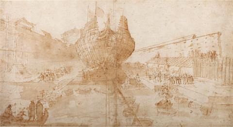 boat construction in a dry dock by filippo d angeli