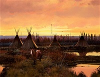 indian encampment at dusk by michael coleman