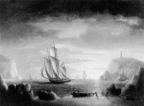 A pirate schooner making sail by Thomas Buttersworth on artnet