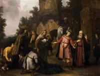 le prophète elisée refuse les présents que lui offre naaman by abraham van dyck