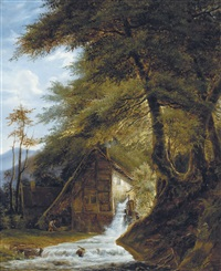 moulin à eau au bord du bois by henri van moer