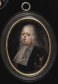cosimo iii de medici, duke of tuscany, with long grey hair and small moustache, wearing a black gown by jean mussard