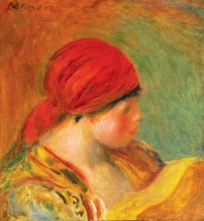 jeune femme au fichu, study for la femme a la guitaren by pierre-auguste renoir