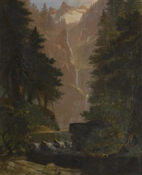 sierra waterfall by edwin deakin