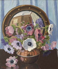 still life with mirror reflection by herbert edward badham