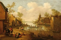 people on a river embankment in a village by cornelis droochsloot