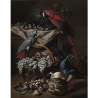 still life with two parrots, a guinea pig, a basket of fruit and fowl by jacob van der kerckhoven