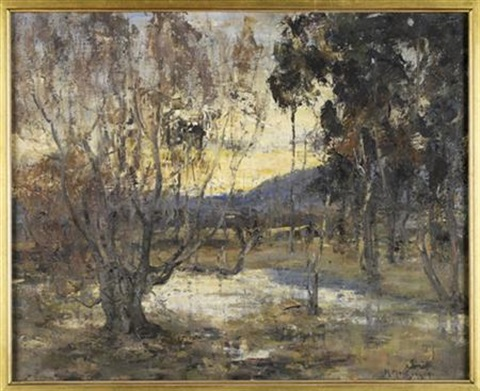 a woodland pool at sunset by harry macgregor