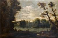 chasseurs dans un paysage de rivière by pier paolo (g.b. carracci) bonzi