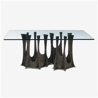 sculptured metal dining table, model pe-102 by paul evans