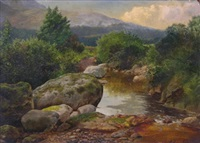 landscape with boulders, quite river and distant mountains by john nesbitt