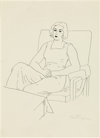 sitting woman by sándor bortnyik