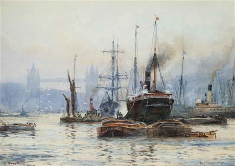 tower bridge london and london bridge a pair by frederick william scarborough