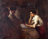 card players by haralambos potamianos