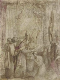 a bishop offering a benediction to a kneeling figure, accompanied by acolytes, pious women and a flagbearer by giovanni andrea (il mastelletta) donducci