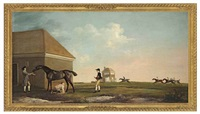 gimcrack on newmarket heath, with a trainer, jockey and stable lad by george stubbs