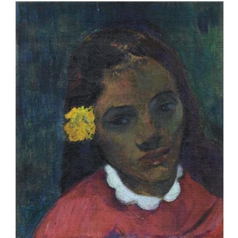 Tete De Tahitienne Or La Fleur Qui Ecoute By Paul Gauguin On Artnet