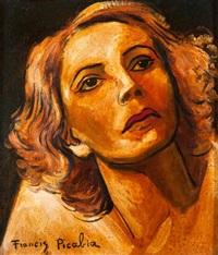 visage de femme aux cheveux roux by francis picabia