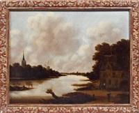 paysage à l'église et au moulin by jan meerhout