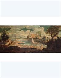 paesaggio fluviale con villa by carlo lodi