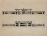 projet de palais, façades extérieures et sur cour by marie joseph peyre