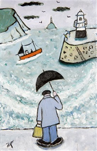 wet day st. ives by joan gillchrest