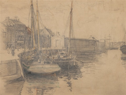shipping in harbour by johan barthold jongkind