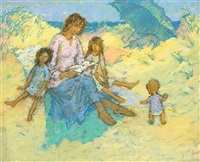 family reading on a beach by jean young