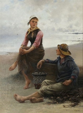 conversation by the sea by august vilhelm nikolaus hagborg