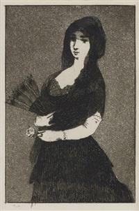 fleur exotique (la femme a la mantille) (from sonnets et eaux-fortes) by édouard manet