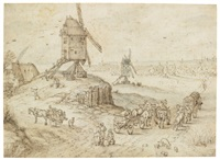 a landscape with windmills, travellers and wagons in the foreground and a town beyond by jan brueghel the elder