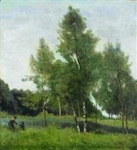 prairie plantee d'arbres by jean-baptiste-camille corot