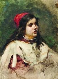 giovane ragazza con cappello rosso by roberto fontana