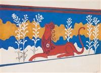 эскиз декорации ко второму акту трагедии д`аннунцио федра by leon bakst