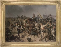 a battle between austrian grenadiers and french light infantry by friedrich (fritz) l' allemand