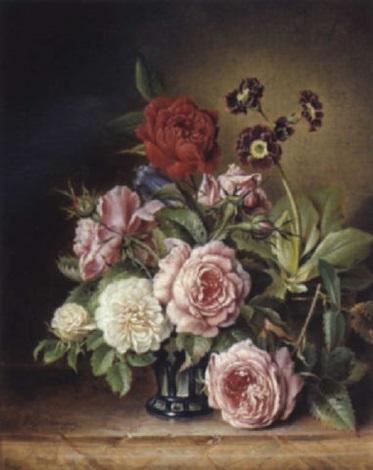 rosen im glas und schlüsselblumen by vinzenz kreuzer